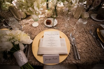 Table Settings for Ritz-Carlton Philadelphia Wedding