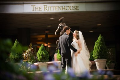 Newlyweds in Front of Rittenhouse Hotel Philadelphia