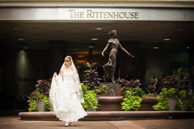 Full Length of Bride in Front of Rittenhouse