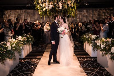 First Kiss at Rittenhouse Hotel Wedding Ceremony