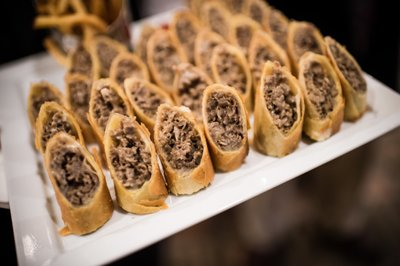 Cheesesteak Egg Rolls at Logan Philadelphia Hotel