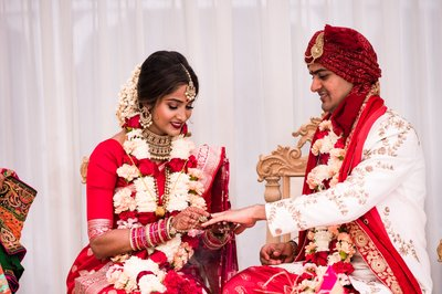 Exchange of Rings at Indian Wedding Ceremony