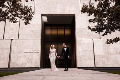 Bride and Groom in Front of Barnes Foundation