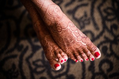 Bride's Feet Decorated in Henna