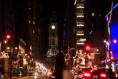 Avenue of the Arts at Night Wedding Photo