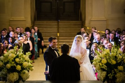 Indoor Wedding Ceremony at Franklin Institute
