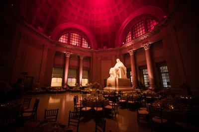Red Uplighting at Franklin Institute Wedding Reception