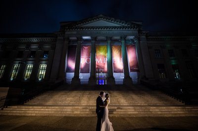 Nighttime Wedding Photos on Franklin Institute Steps