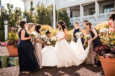 Bride with Bridesmaids at New Jersey Wedding