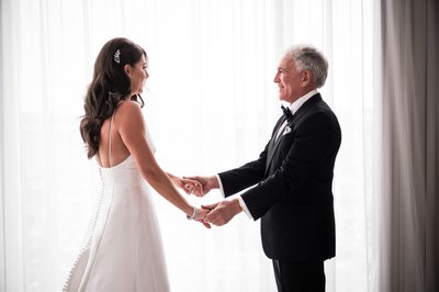 Dad Seeing Daughter on Her Wedding Day