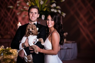 Bride and Groom with Dog at Four Seasons