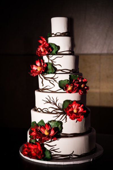 Flowered Wedding Cake at Barnes Foundation