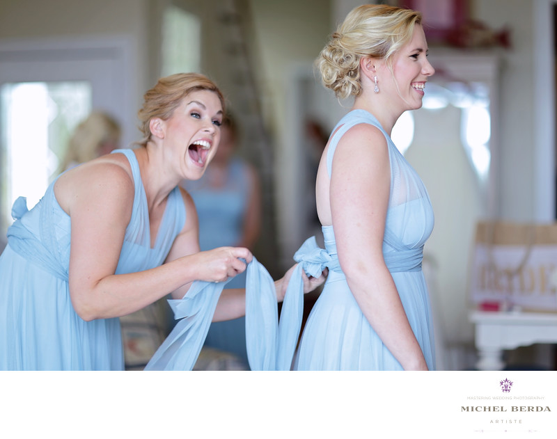 Bridesmaids getting ready Wild Dunes Resort Wedding