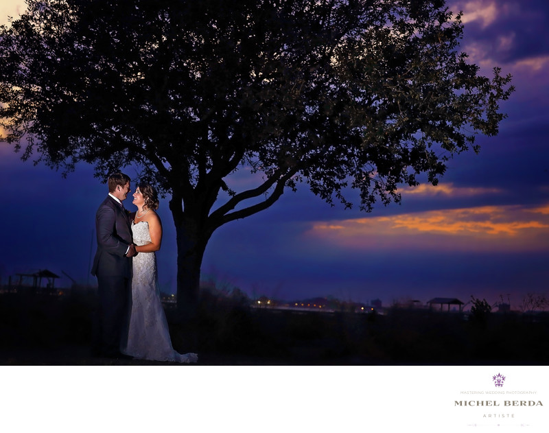 Sunset bride & groom Alhambra Hall