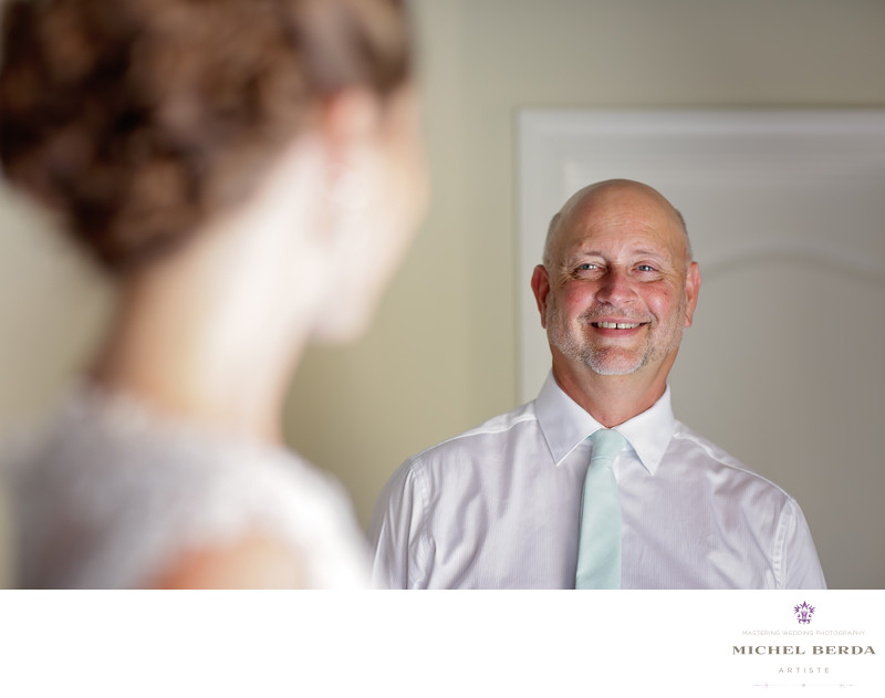 Father first look with bride Weddings Palmetto Dunes Oceanfront Resort