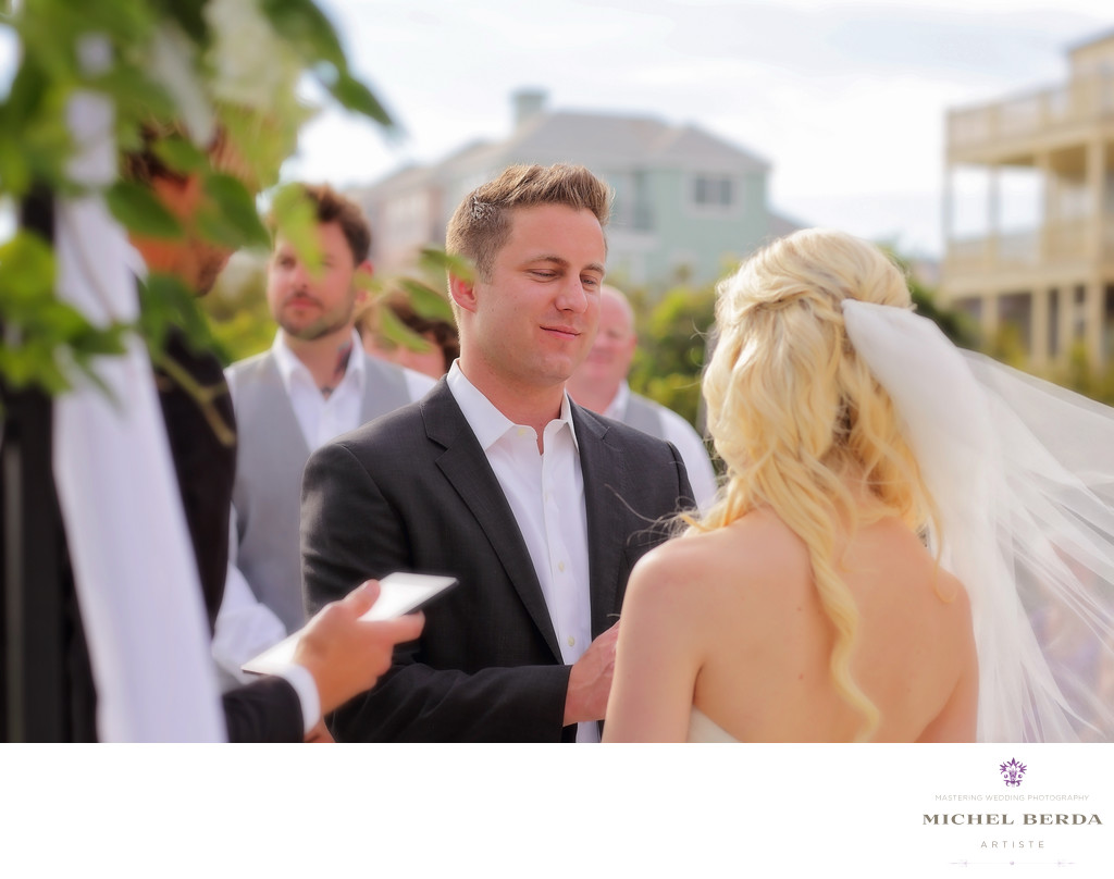 Bride & Groom ceremony at wedding ceremony at Sea Side Point Wild Dunes Resort