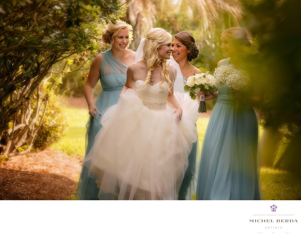 Bride and bridesmaid walking on the property of Wild Dunes Resort Wedding