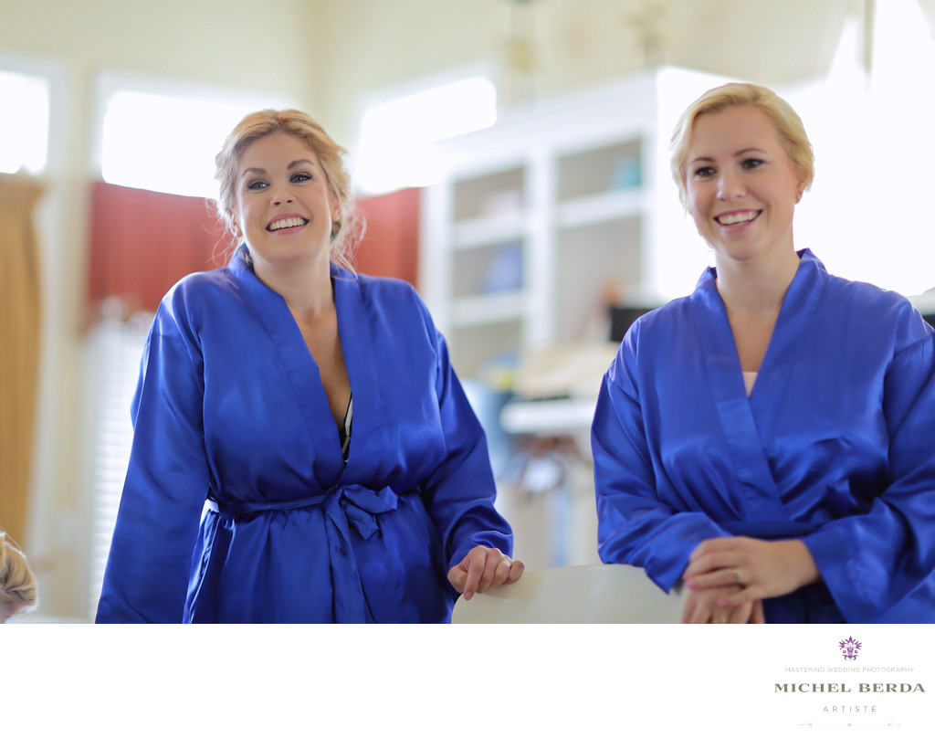 Bridesmaids in robes Wild Dunes Resort Wedding
