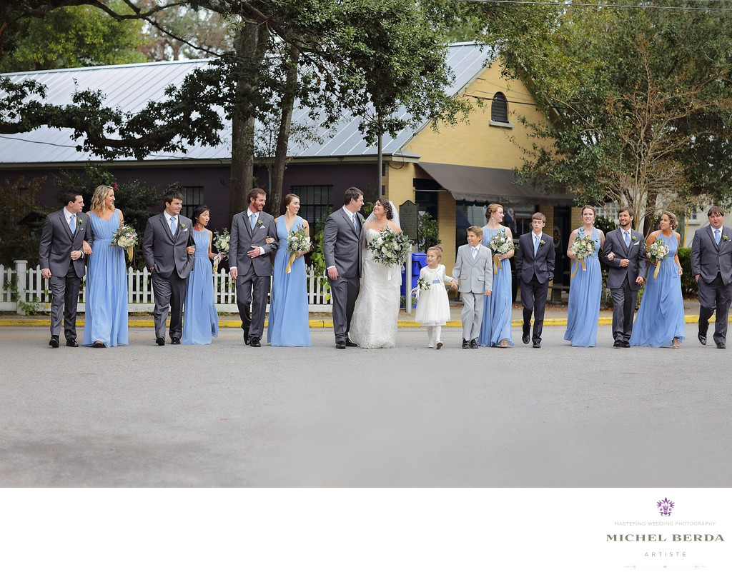 Bride & Groom & bridal party Old Village Mount Pleasant SC