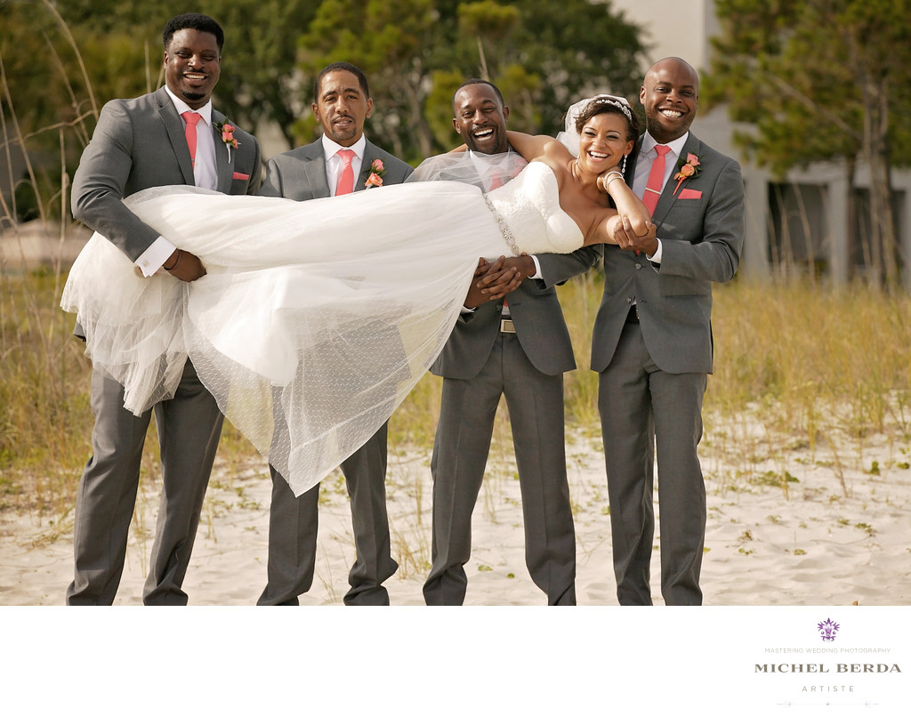 Groomsmen bride beach THE WESTIN HILTON HEAD ISLAND RESORT & SPA