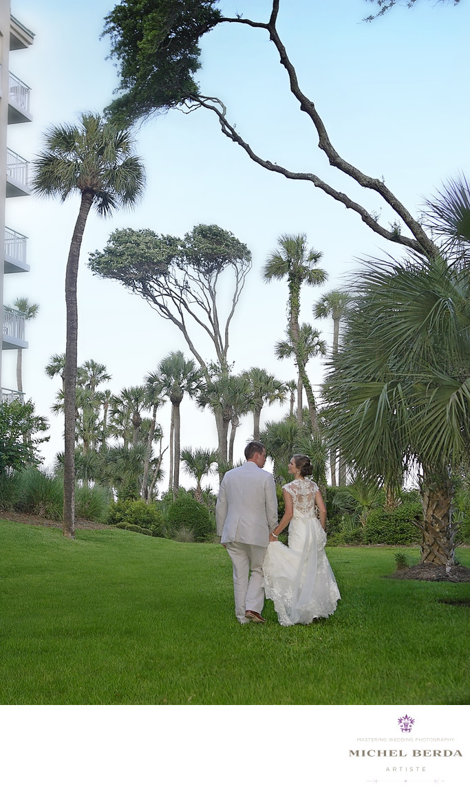Bride and groom trees Weddings Palmetto Dunes Oceanfront Resort