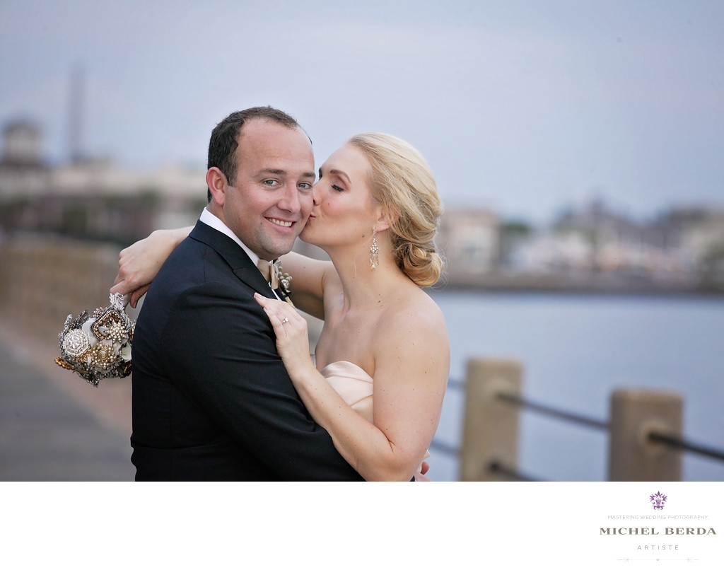 Bride & Groom At The Battery Charleston SC
