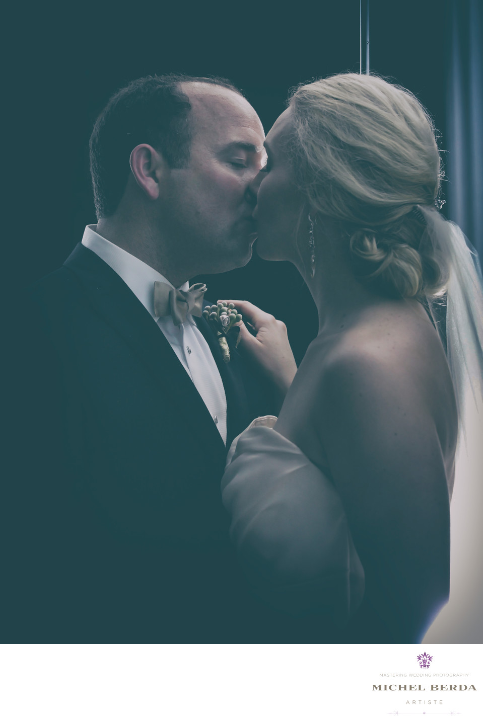 Bride And Groom Kiss At Hibernian Hall Charleston SC