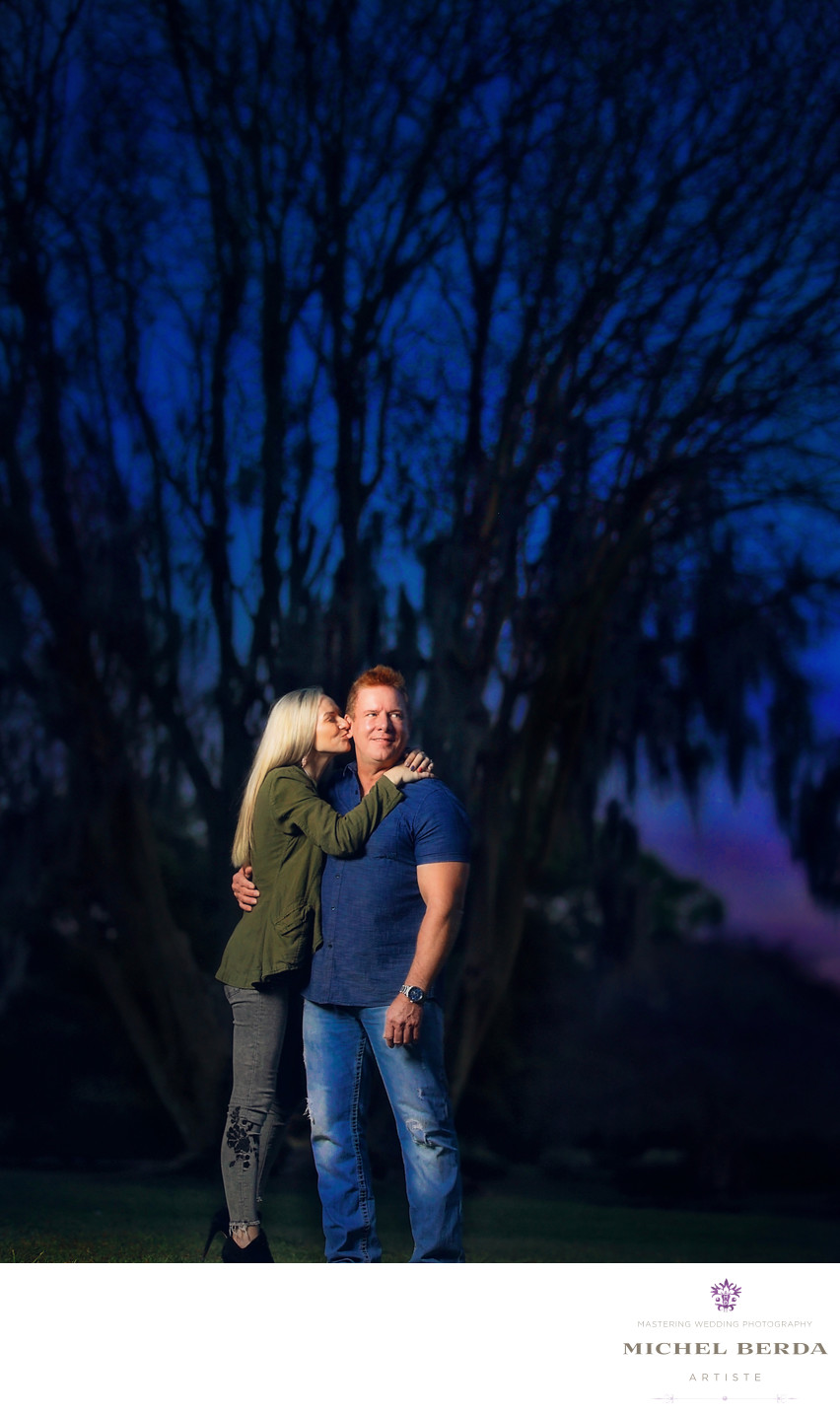 Nighttime Engagement Photos Charleston SC.