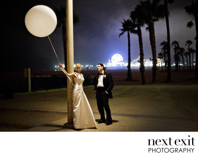 Late night Santa Monica Pier Wedding