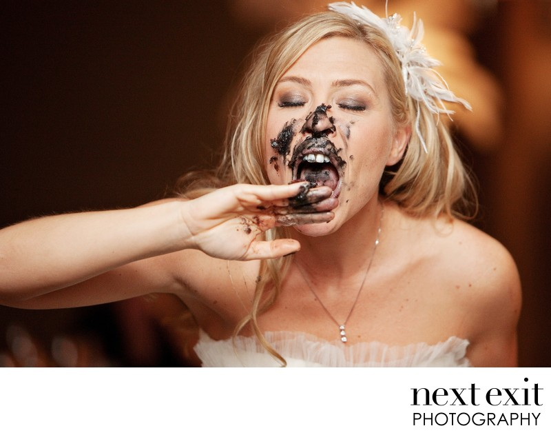Portrait of Bride and Chocolate Cake Face