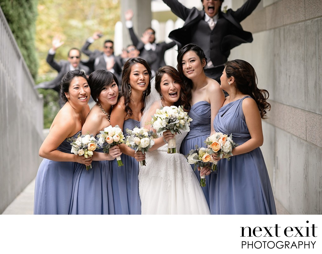 Skirball Bridal Party Jumping Portait Wedding Photographer - Los Angeles Wedding, Mitzvah & Portrait Photographer - Next Exit Photography