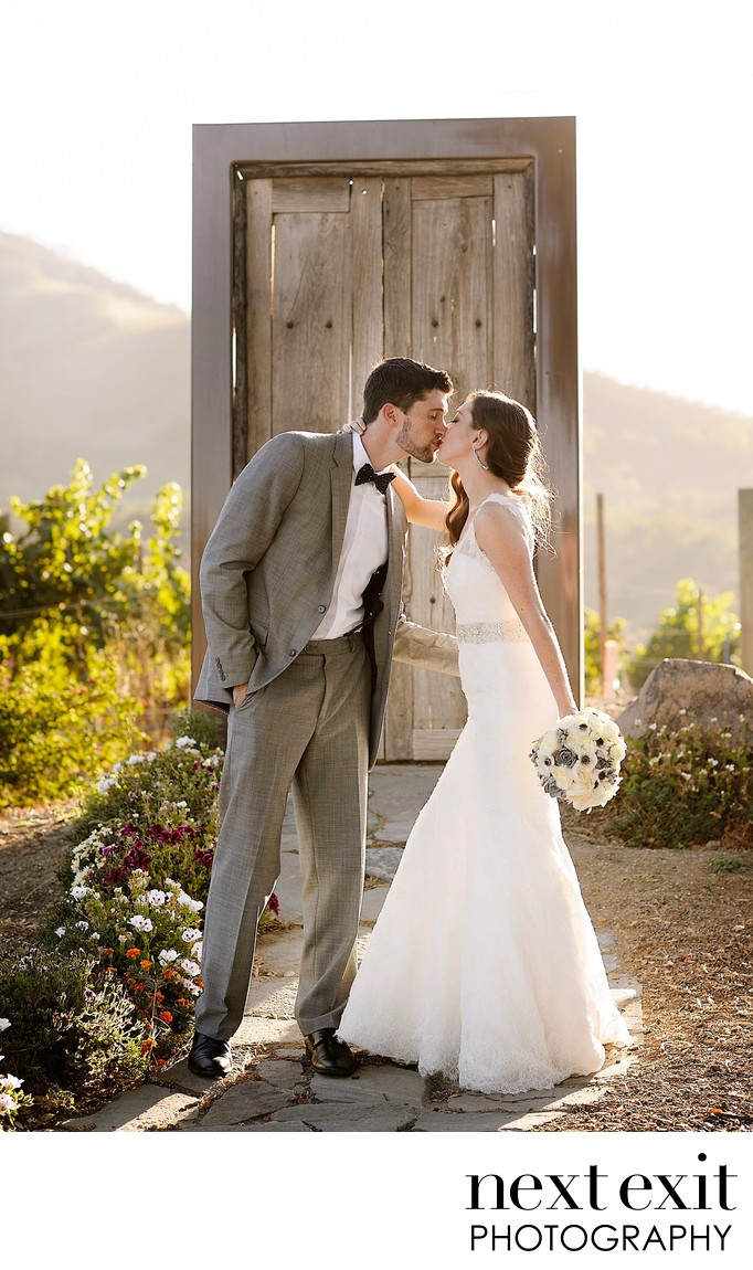 A Kiss at the Door To Nowhere Saddlerock Ranch Wedding