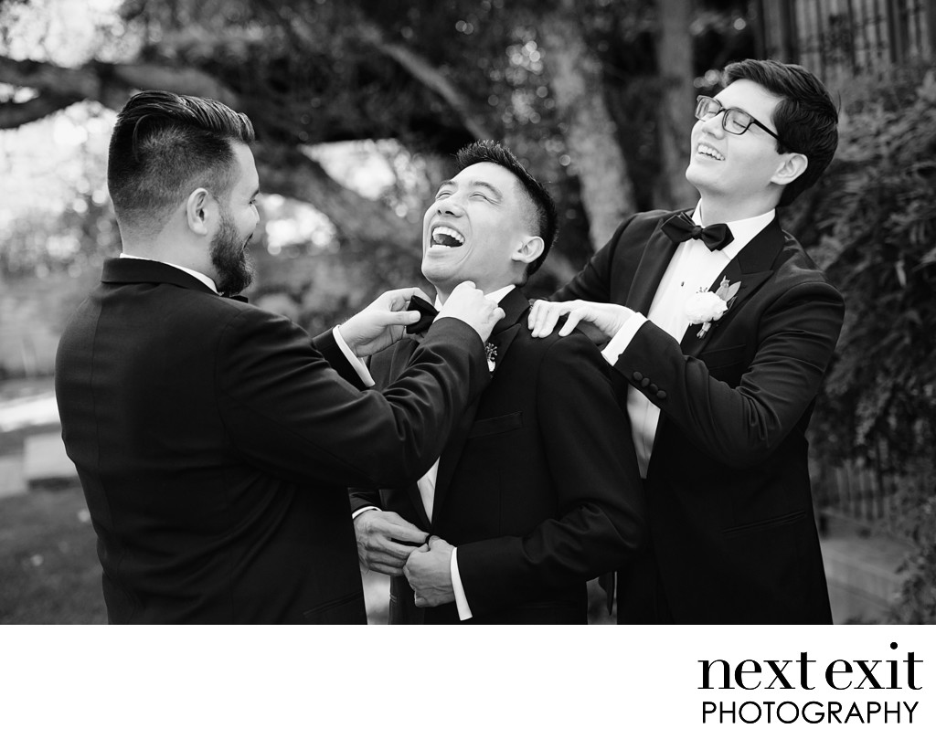 Groomsmen Getting Ready Outside Hummingbird Nest Ranch - Los Angeles Wedding, Mitzvah & Portrait Photographer - Next Exit Photography