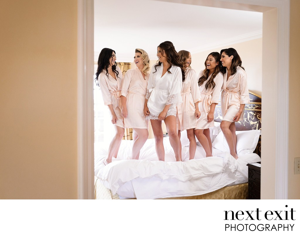 Bridesmaids jumping on the bed at the Langham - Los Angeles Wedding, Mitzvah & Portrait Photographer - Next Exit Photography