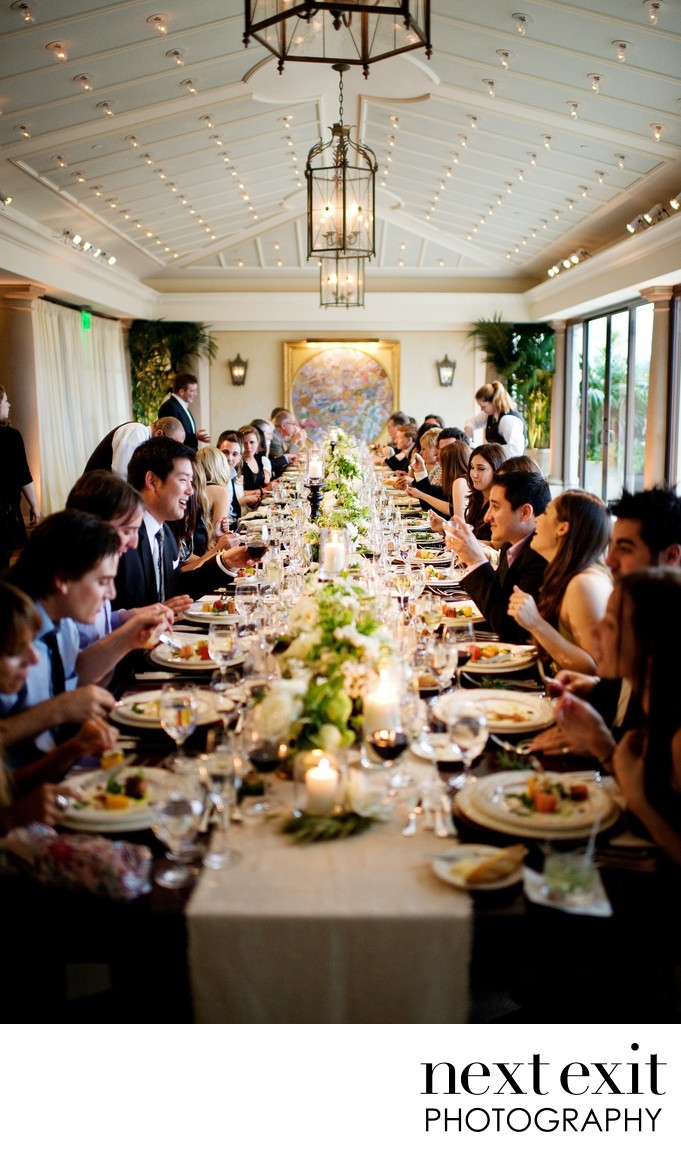 Elegant Long Table Dinner Reception Wedding Photography