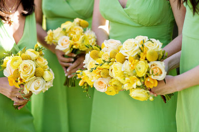 Wedding Details - Bridal Party Bouquets and Green Dresses