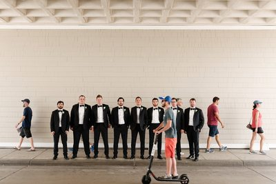 Fun Groomsmen Lineup - Los Angeles Wedding, Mitzvah & Portrait Photographer - Next Exit Photography