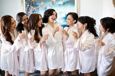 Bridesmaids toast at the Hotel Casa Del Mar