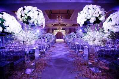 Gorgeous Purple Wedding Decor in the Collonade Ballroom