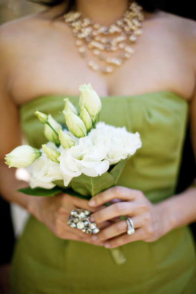 Wedding Details - Bridal Party Bouquet on green