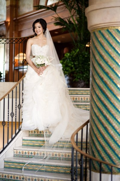 Bridal Portrait on the stairs in the Hotel Casa Del Mar
