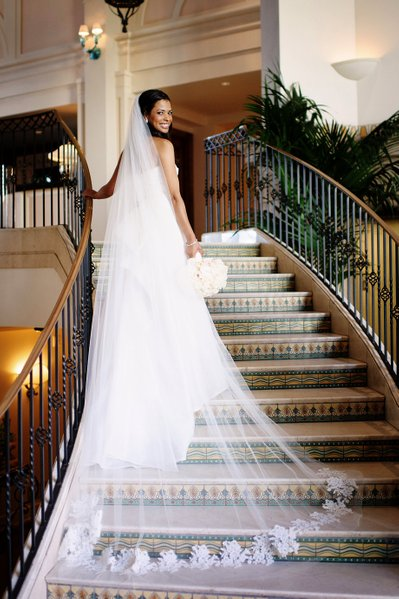 Beautiful Bridal Veil on the Stairs at the Hotel Casa Del Mar