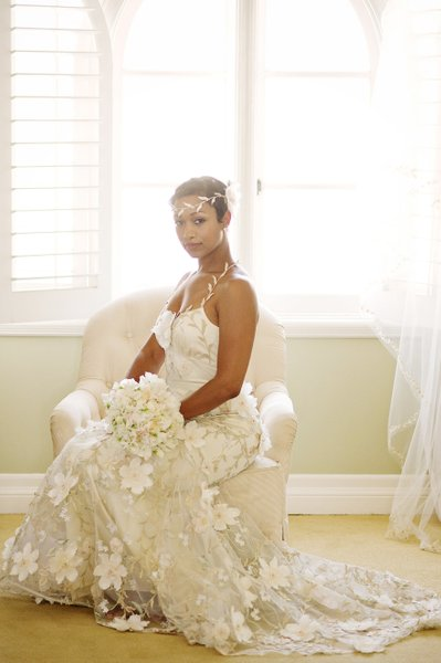 Beautiful African American Bride in Claire Pettibone