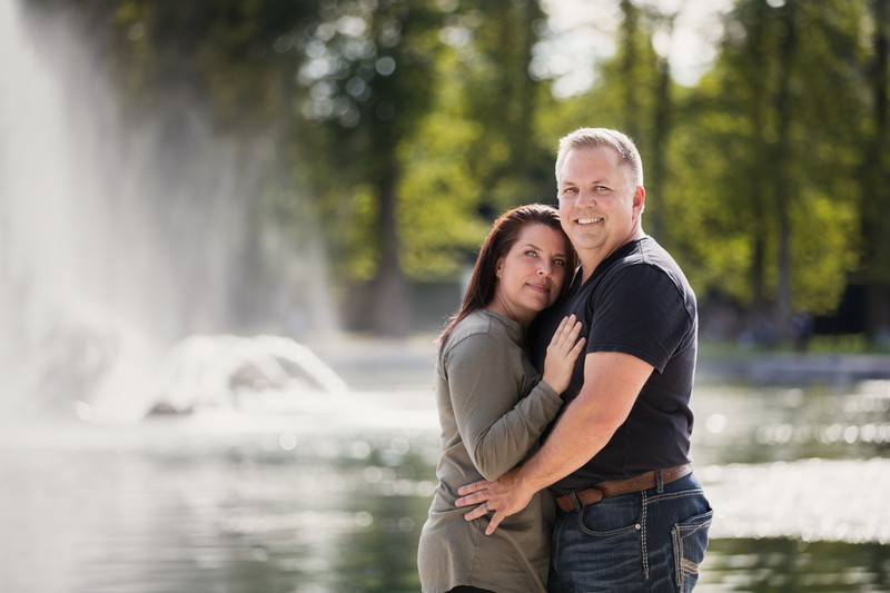 Couples Portrait at Fountains in Versailles France