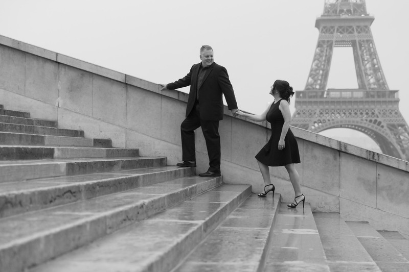 Climbing Stairs Trocadero Eiffel Tower Paris France