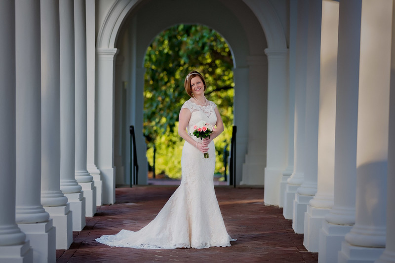 Bridal Portrait between columns at UVA, Charlottesville