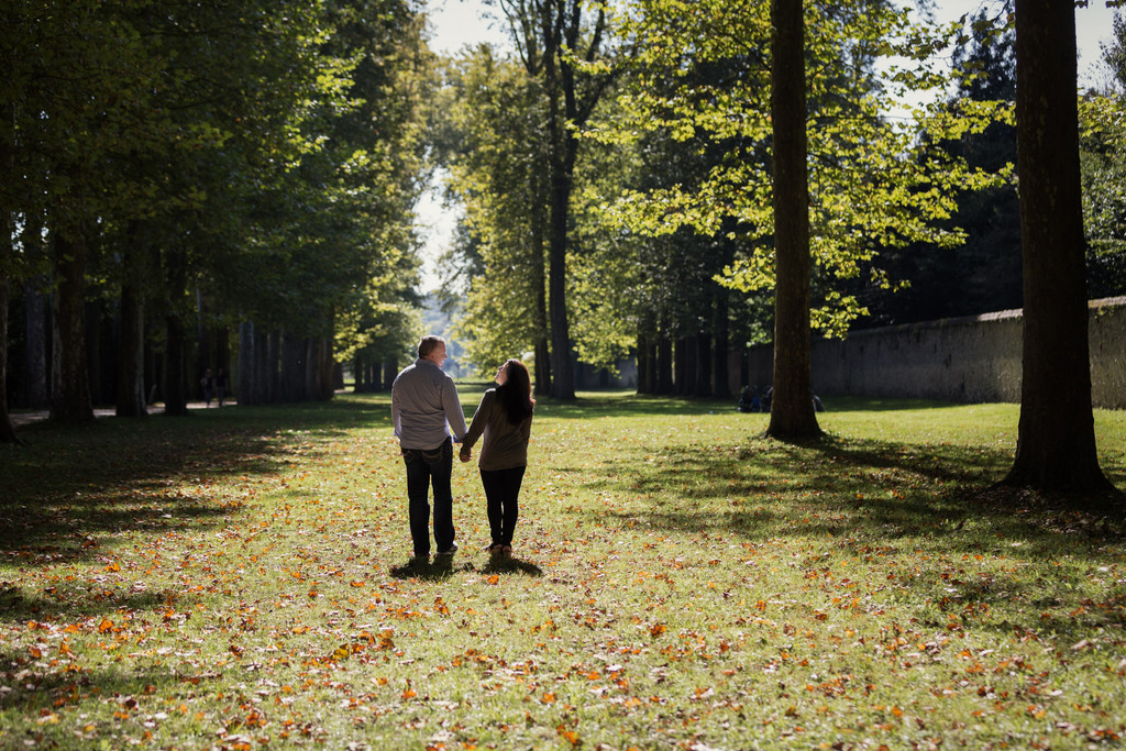Couples Portrait in Versailles Gardens France
