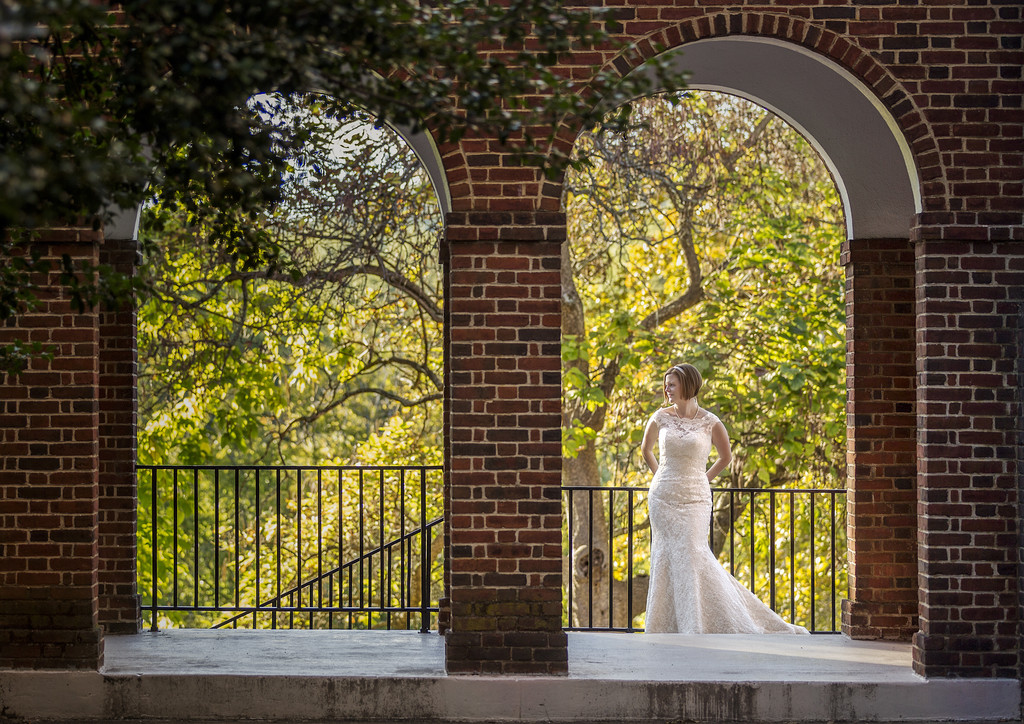 Bridal portrait at the brick arches at UVA