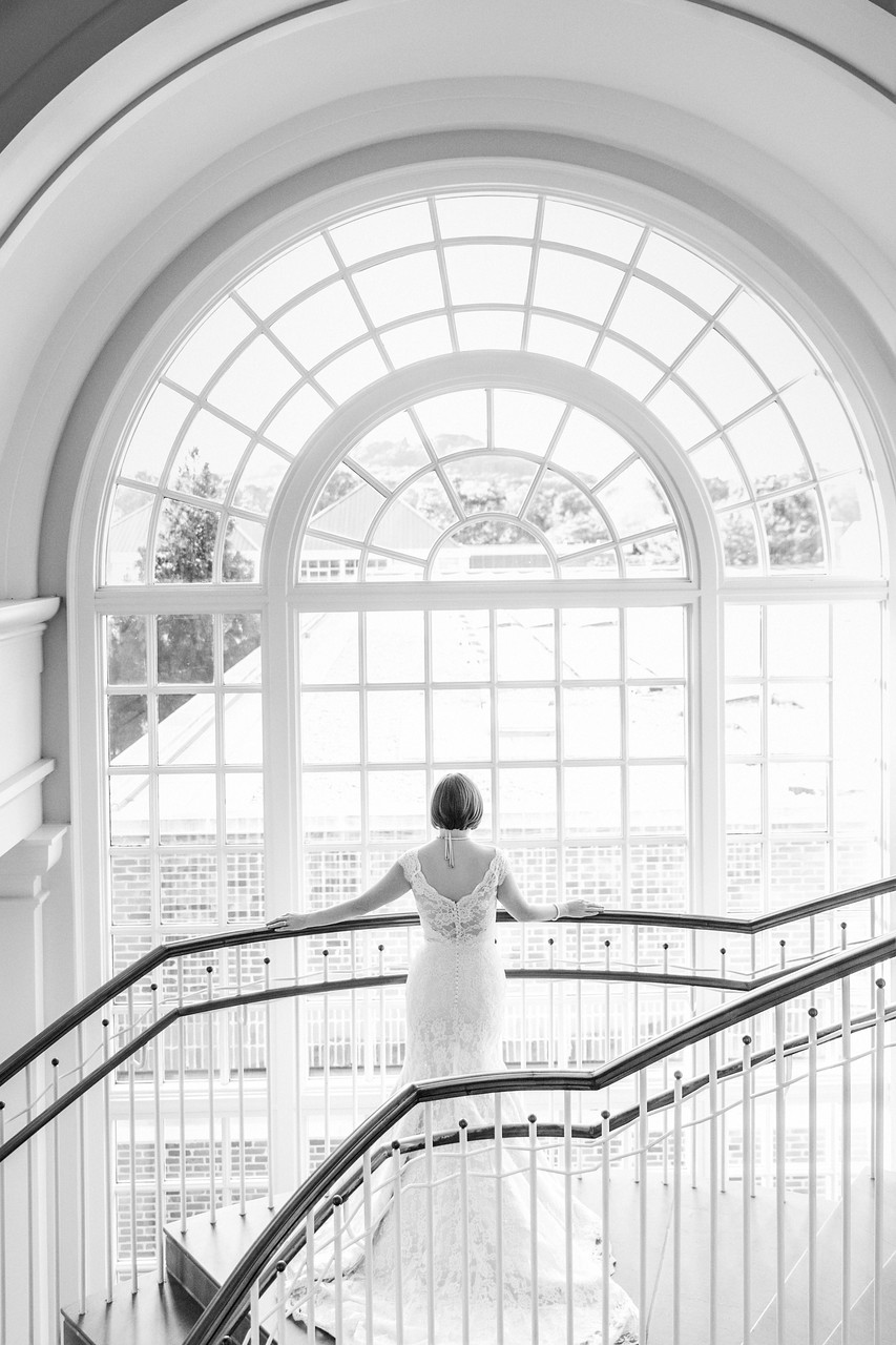 Black & white bridal portrait at Albert Shirley Library