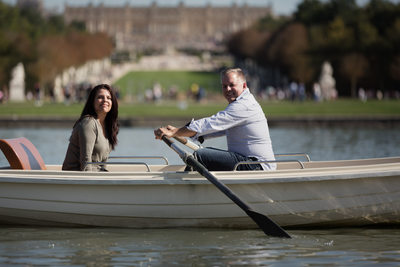 Couples Portrait in Boats at Versailles, France